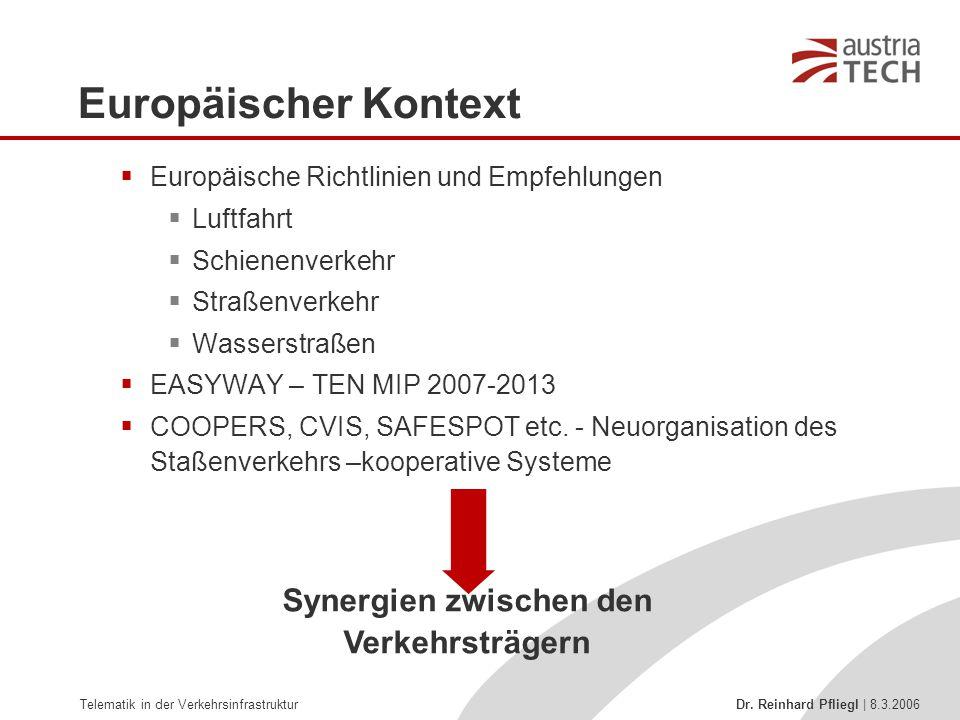 Telematik in der Verkehrsinfrastruktur Dr. Reinhard Pfliegl | 8.3.2006  Europäische Richtlinien und Empfehlungen  Luftfahrt  Schienenverkehr  Stra