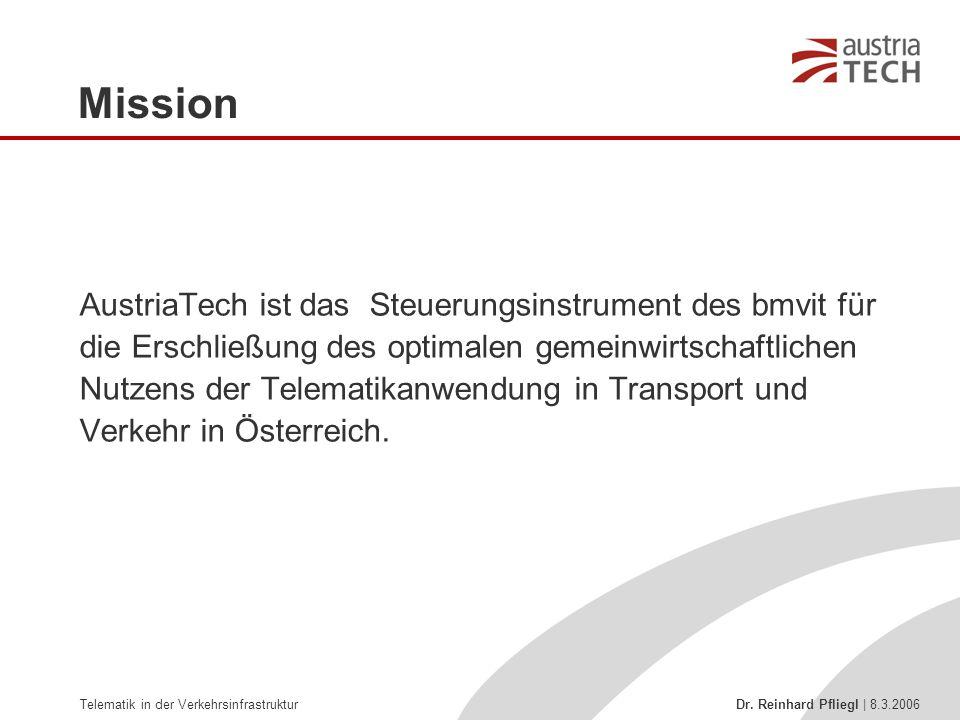 Telematik in der Verkehrsinfrastruktur Dr. Reinhard Pfliegl | 8.3.2006 Mission AustriaTech ist das Steuerungsinstrument des bmvit für die Erschließung