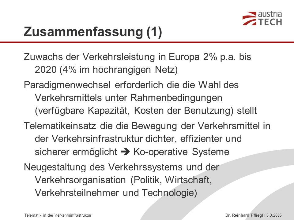 Telematik in der Verkehrsinfrastruktur Dr. Reinhard Pfliegl | 8.3.2006 Zusammenfassung (1) Zuwachs der Verkehrsleistung in Europa 2% p.a. bis 2020 (4%