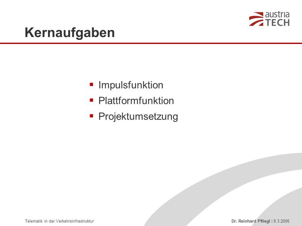 Telematik in der Verkehrsinfrastruktur Dr. Reinhard Pfliegl | 8.3.2006 Kernaufgaben  Impulsfunktion  Plattformfunktion  Projektumsetzung