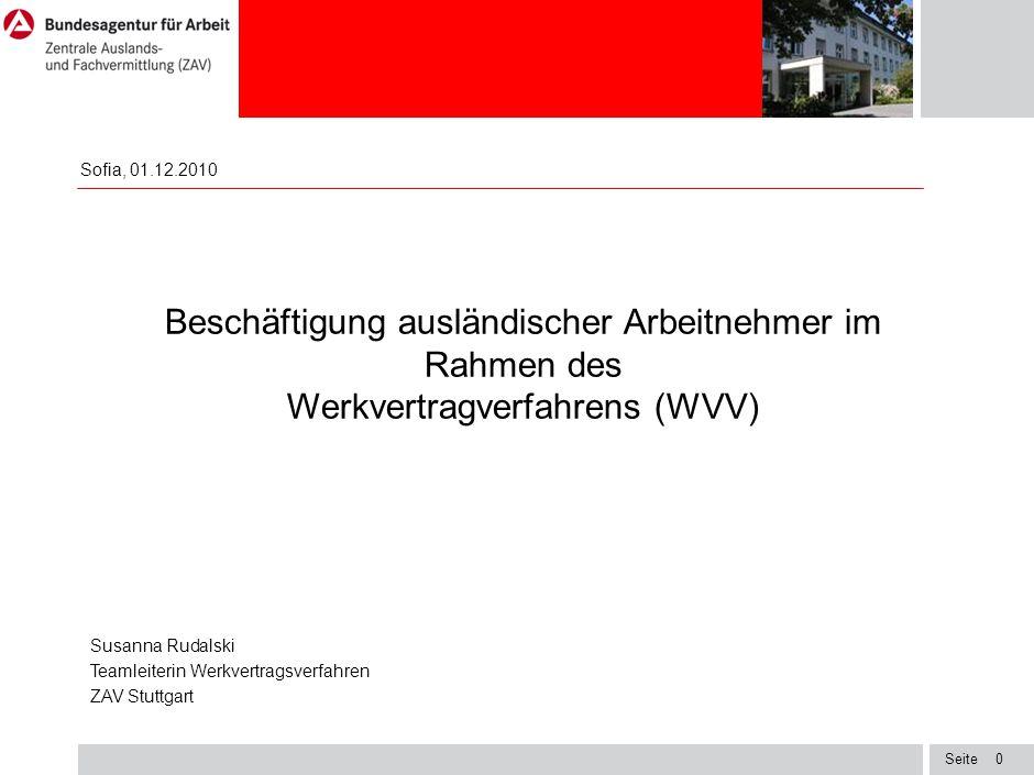 Seite1 Die Zentrale Auslands- und Fachvermittlung (ZAV) Die ZAV ist eine besondere Dienststelle der Bundesagentur für Arbeit mit Hauptsitz in Bonn Ca.