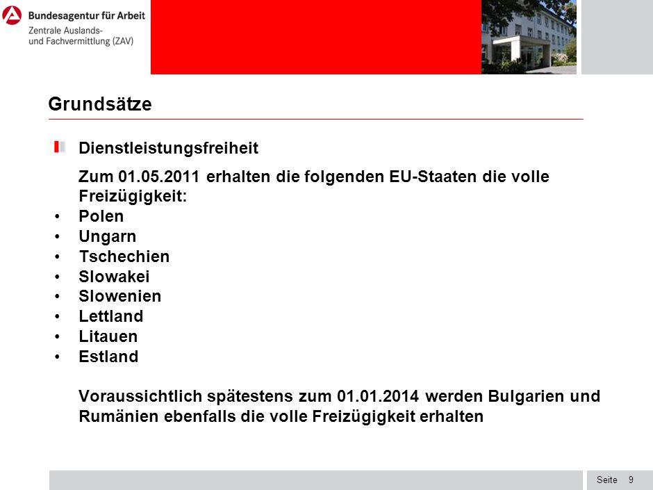 Seite Grundsätze Dienstleistungsfreiheit Zum 01.05.2011 erhalten die folgenden EU-Staaten die volle Freizügigkeit: Polen Ungarn Tschechien Slowakei Slowenien Lettland Litauen Estland Voraussichtlich spätestens zum 01.01.2014 werden Bulgarien und Rumänien ebenfalls die volle Freizügigkeit erhalten 9