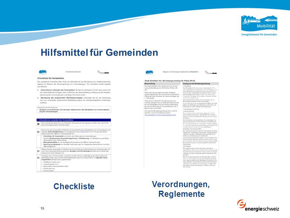 Hilfsmittel für Gemeinden 15 Checkliste Verordnungen, Reglemente