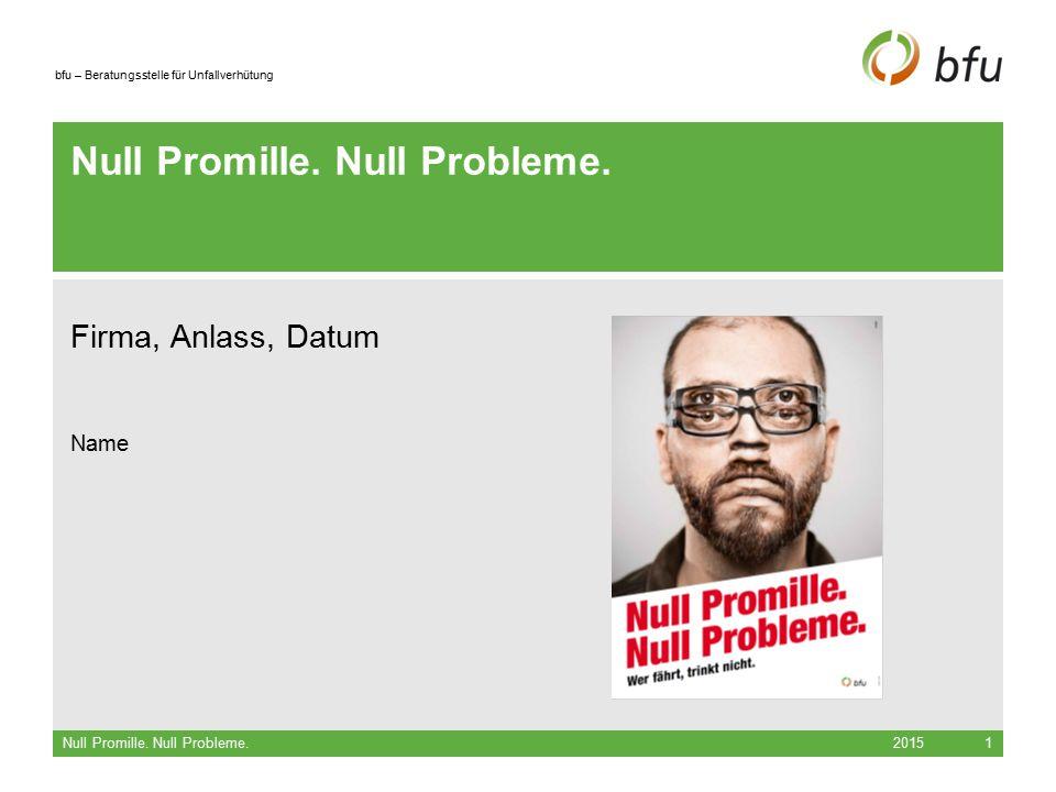 bfu – Beratungsstelle für Unfallverhütung 2015 Null Promille.