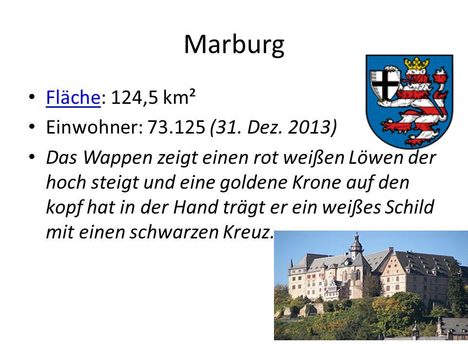 Marburg Fläche: 124,5 km² Fläche Einwohner: 73.125 (31.