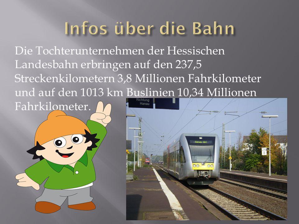 Die Tochterunternehmen der Hessischen Landesbahn erbringen auf den 237,5 Streckenkilometern 3,8 Millionen Fahrkilometer und auf den 1013 km Buslinien 10,34 Millionen Fahrkilometer.