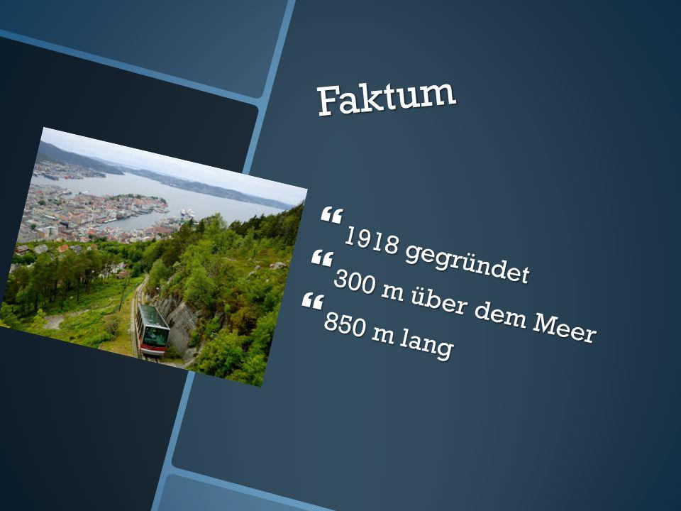 Faktum  1918 gegründet  300 m über dem Meer  850 m lang