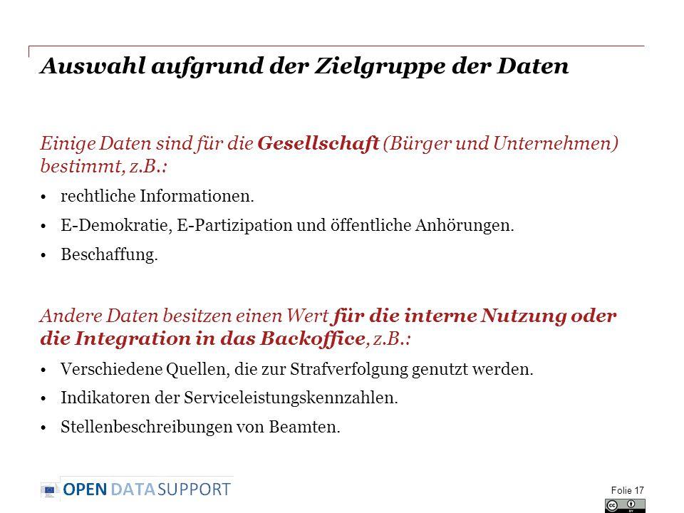 Auswahl aufgrund der Zielgruppe der Daten Einige Daten sind für die Gesellschaft (Bürger und Unternehmen) bestimmt, z.B.: rechtliche Informationen.
