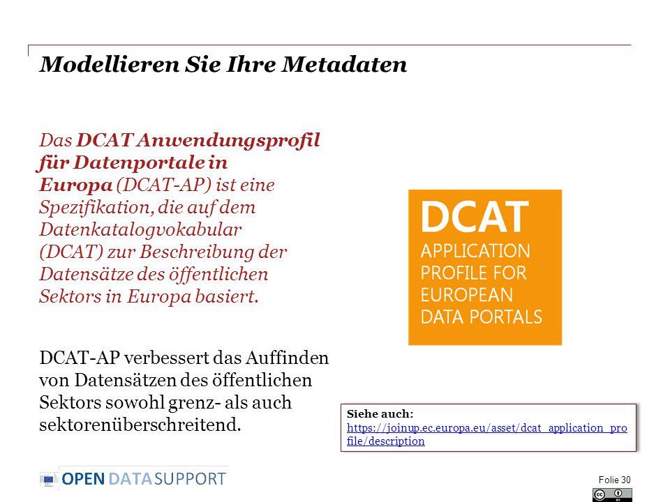 Modellieren Sie Ihre Metadaten Das DCAT Anwendungsprofil für Datenportale in Europa (DCAT-AP) ist eine Spezifikation, die auf dem Datenkatalogvokabular (DCAT) zur Beschreibung der Datensätze des öffentlichen Sektors in Europa basiert.
