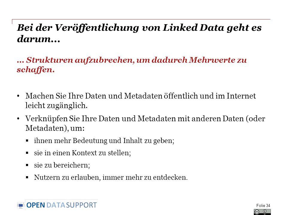 Bei der Veröffentlichung von Linked Data geht es darum...