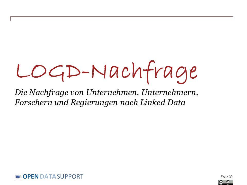 LOGD-Nachfrage Die Nachfrage von Unternehmen, Unternehmern, Forschern und Regierungen nach Linked Data Folie 39