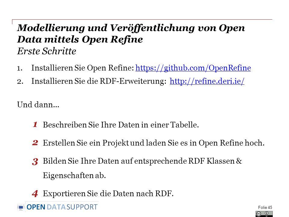 Modellierung und Veröffentlichung von Open Data mittels Open Refine Erste Schritte 1.Installieren Sie Open Refine: https://github.com/OpenRefinehttps://github.com/OpenRefine 2.Installieren Sie die RDF-Erweiterung: http://refine.deri.ie/http://refine.deri.ie/ Und dann...