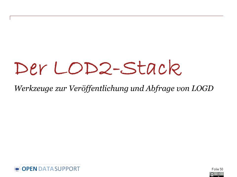 Der LOD2-Stack Werkzeuge zur Veröffentlichung und Abfrage von LOGD Folie 50