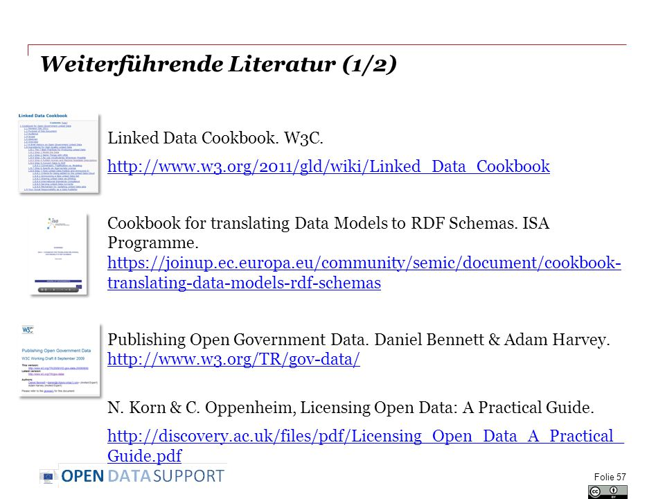 Weiterführende Literatur (1/2) Linked Data Cookbook. W3C. http://www.w3.org/2011/gld/wiki/Linked_Data_Cookbook Cookbook for translating Data Models to