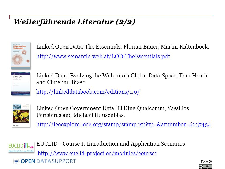 Weiterführende Literatur (2/2) Linked Open Data: The Essentials.