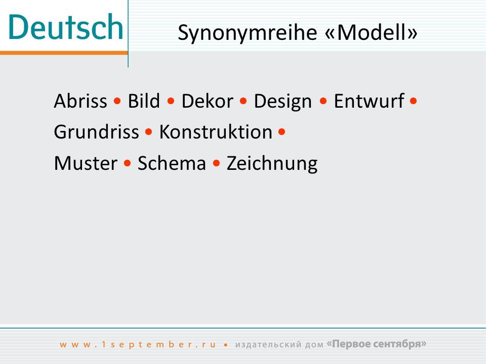 Synonymreihe «Modell» Abriss Bild Dekor Design Entwurf Grundriss Konstruktion Muster Schema Zeichnung