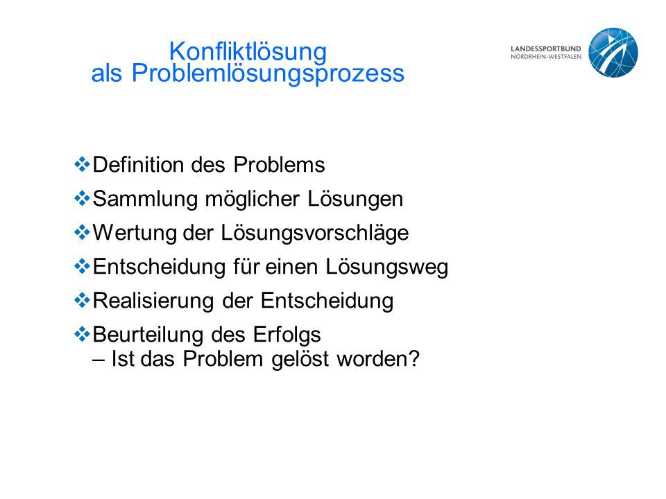 Konfliktlösung als Problemlösungsprozess  Definition des Problems  Sammlung möglicher Lösungen  Wertung der Lösungsvorschläge  Entscheidung für ei