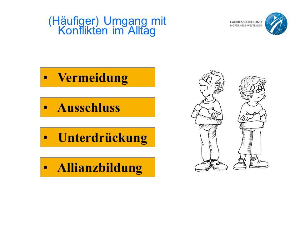 (Häufiger) Umgang mit Konflikten im Alltag Ausschluss Unterdrückung Allianzbildung Vermeidung