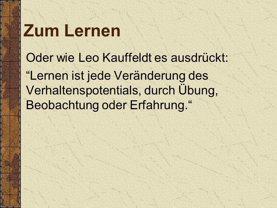 Zum Lernen Oder wie Leo Kauffeldt es ausdrückt: Lernen ist jede Veränderung des Verhaltenspotentials, durch Übung, Beobachtung oder Erfahrung.