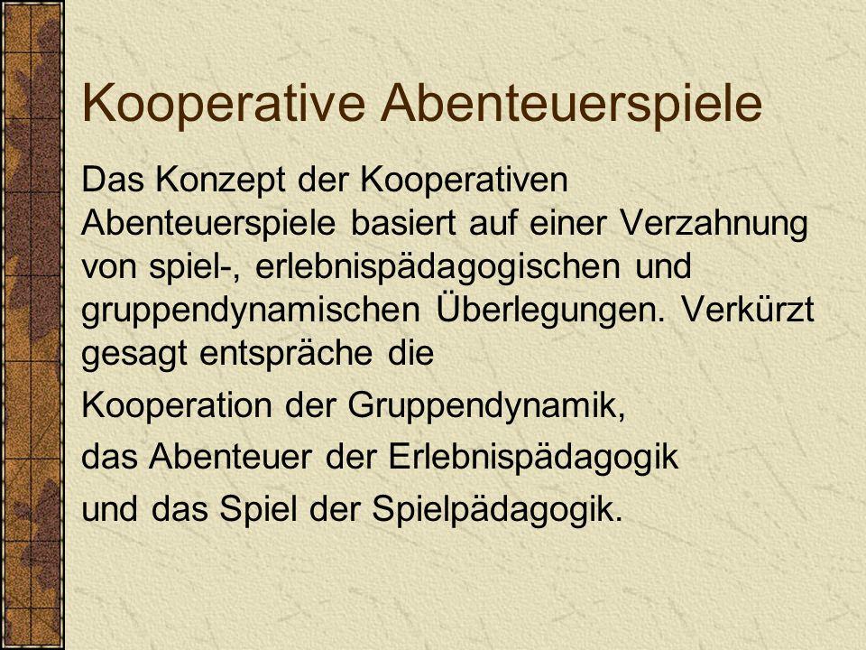 Kooperative Abenteuerspiele Das Konzept der Kooperativen Abenteuerspiele basiert auf einer Verzahnung von spiel-, erlebnispädagogischen und gruppendynamischen Überlegungen.
