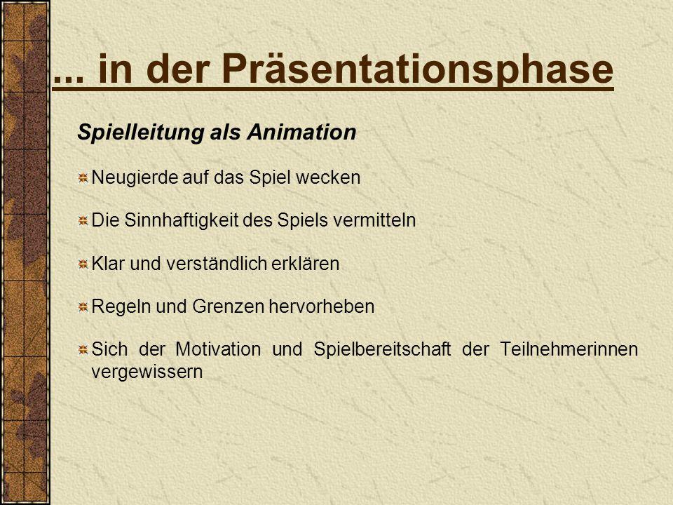 ... in der Präsentationsphase Spielleitung als Animation Neugierde auf das Spiel wecken Die Sinnhaftigkeit des Spiels vermitteln Klar und verständlich