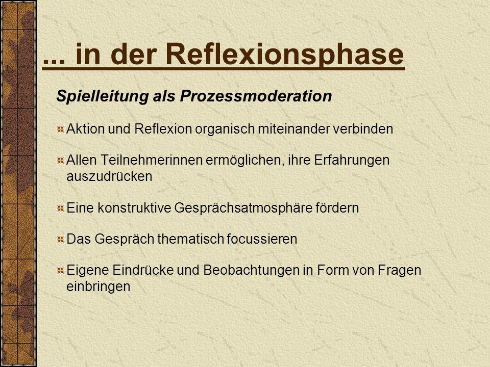 ... in der Reflexionsphase Spielleitung als Prozessmoderation Aktion und Reflexion organisch miteinander verbinden Allen Teilnehmerinnen ermöglichen,