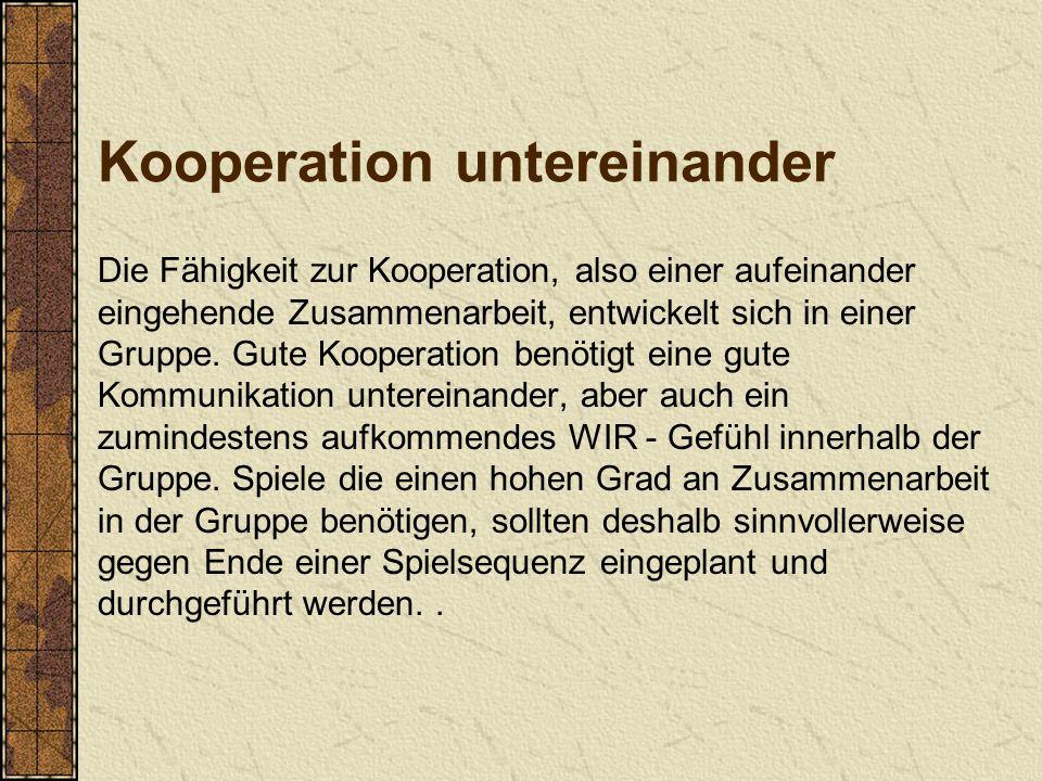 Kooperation untereinander Die Fähigkeit zur Kooperation, also einer aufeinander eingehende Zusammenarbeit, entwickelt sich in einer Gruppe. Gute Koope
