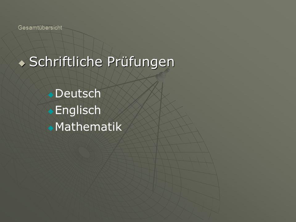 Gesamtübersicht SSSSchriftliche Prüfungen DDeutsch EEnglisch MMathematik