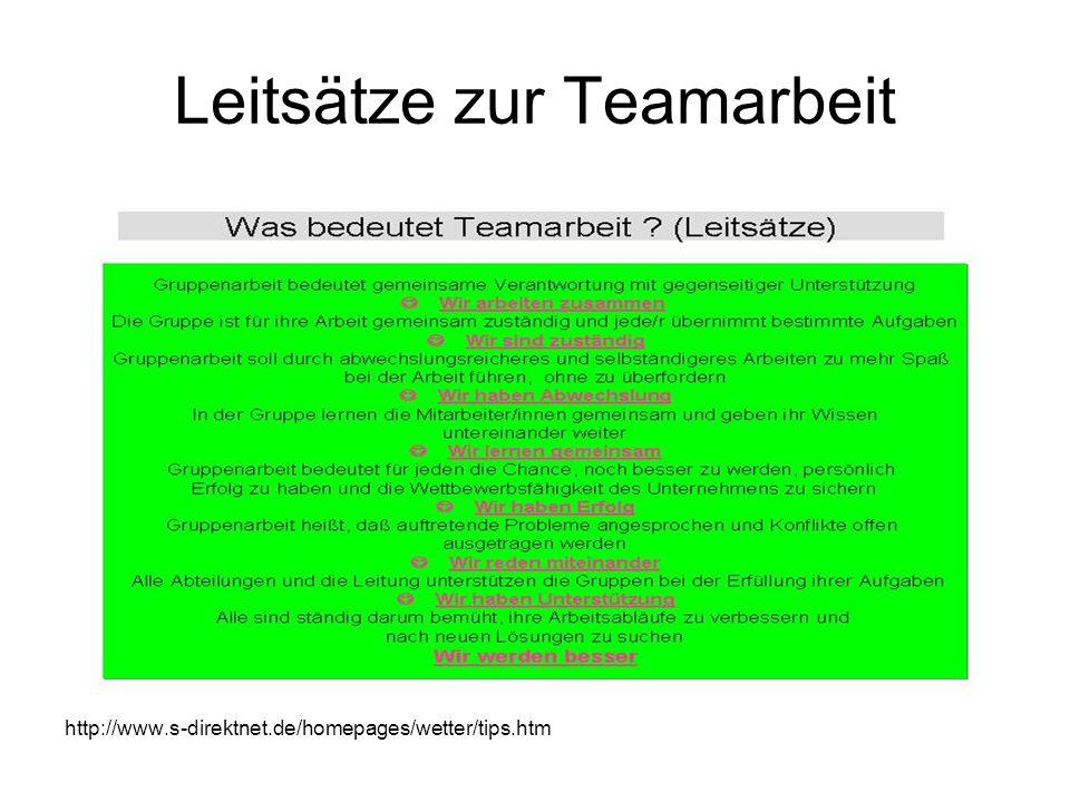 Leitsätze zur Teamarbeit http://www.s-direktnet.de/homepages/wetter/tips.htm