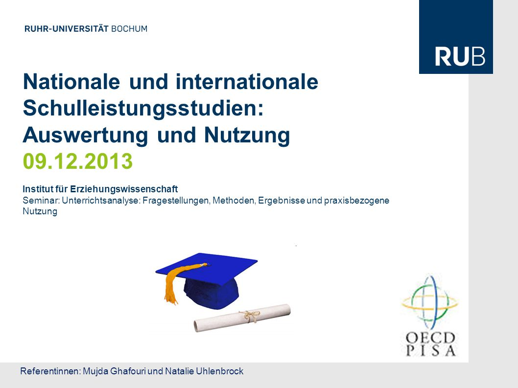 32 Lernumfeld und schulische Organisation Lernumfeld Aufteilung und Selektion der SuS Beurteilungsmethoden Zeitaufwand für das Lernen Qualität der Lehrkräfte Vorschulbildung