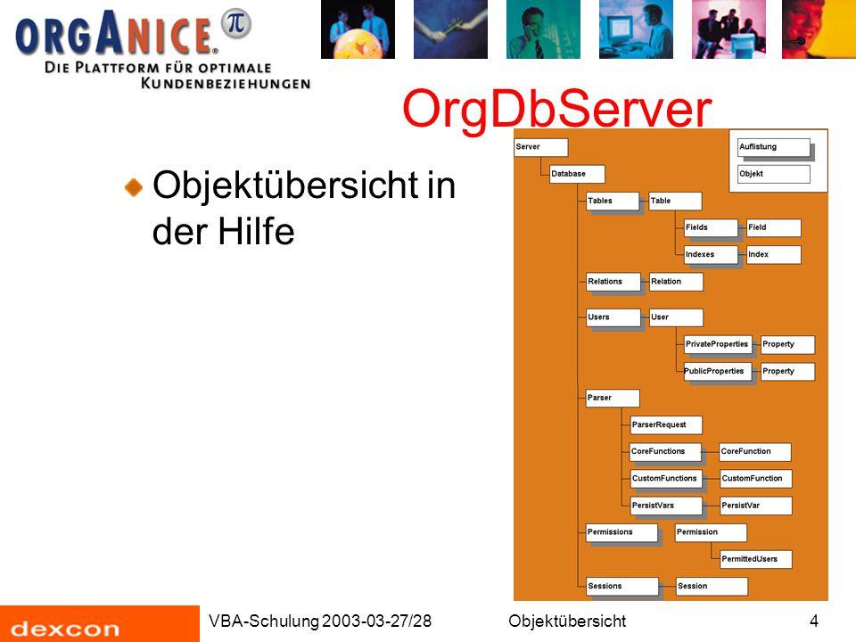 VBA-Schulung 2003-03-27/28Objektübersicht15 OrgData ActiveTable: Über die Eigenschaft ActiveTable erfahren wir, welche Tabelle gerade aktiv ist .