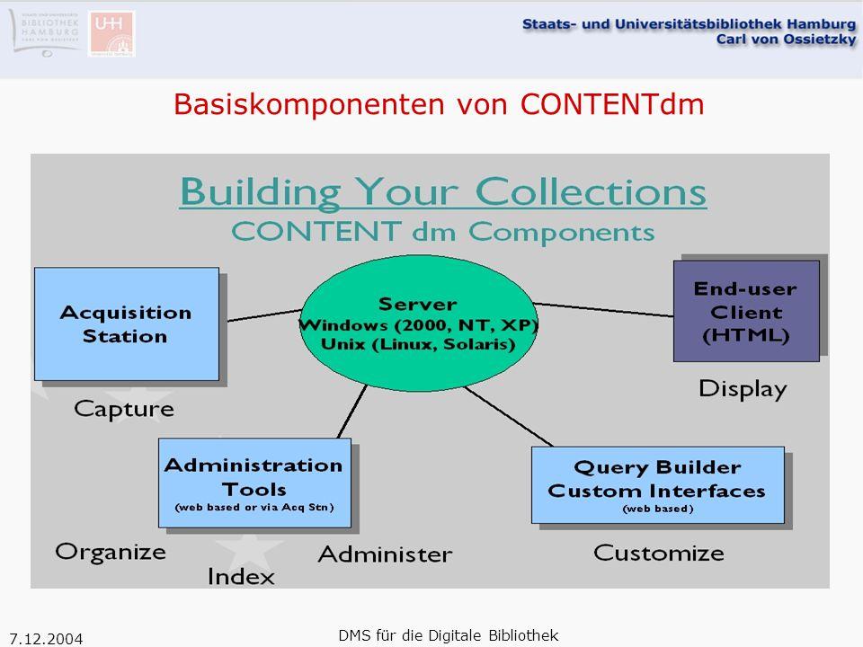 7.12.2004 DMS für die Digitale Bibliothek Basiskomponenten von CONTENTdm