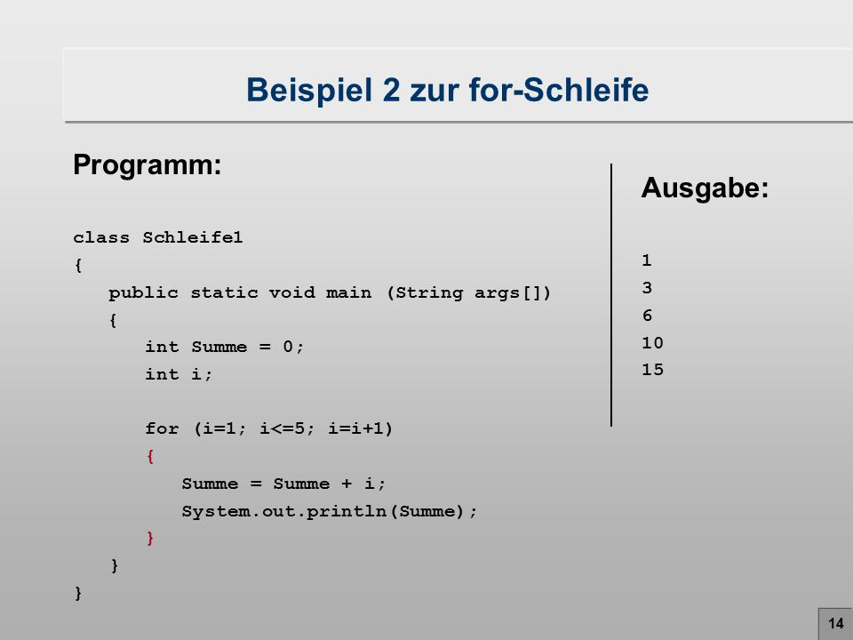 14 Beispiel 2 zur for-Schleife Programm: class Schleife1 { public static void main (String args[]) { int Summe = 0; int i; for (i=1; i<=5; i=i+1) { Summe = Summe + i; System.out.println(Summe); } Ausgabe: 1 3 6 10 15