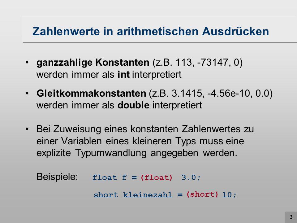 4 Operatorenreihenfolge (Priorität) PrioritätOperatorenAssoziativität 1 + -Vorzeichen (einstellig)rechts 1 (Typ)Typkonversionrechts 2 * / %Multiplikation, Division, Restlinks 3 + -Addition, Subtraktionlinks 4 =Wertzuweisungrechts Beispiel: i = (int) 5.9 + -7 / 3 5 -2 3 i = + Ganzzahlige Division