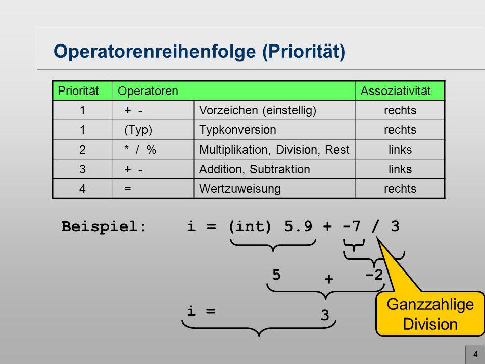 5 Operatorenreihenfolge (Assoziativität) PrioritätOperatorenAssoziativität 1 + -Vorzeichen (einstellig)rechts 1 (Typ)Typkonversionrechts 2 * / %Multiplikation, Division, Restlinks 3 + -Addition, Subtraktionlinks 4 =Wertzuweisungrechts Beispiel: double i = 5 / 10 / 1.0 0 0 i = /1.0 Ganzzahlige Division
