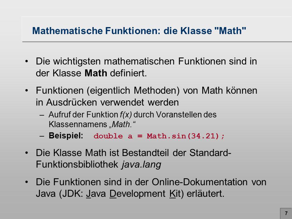 7 Mathematische Funktionen: die Klasse
