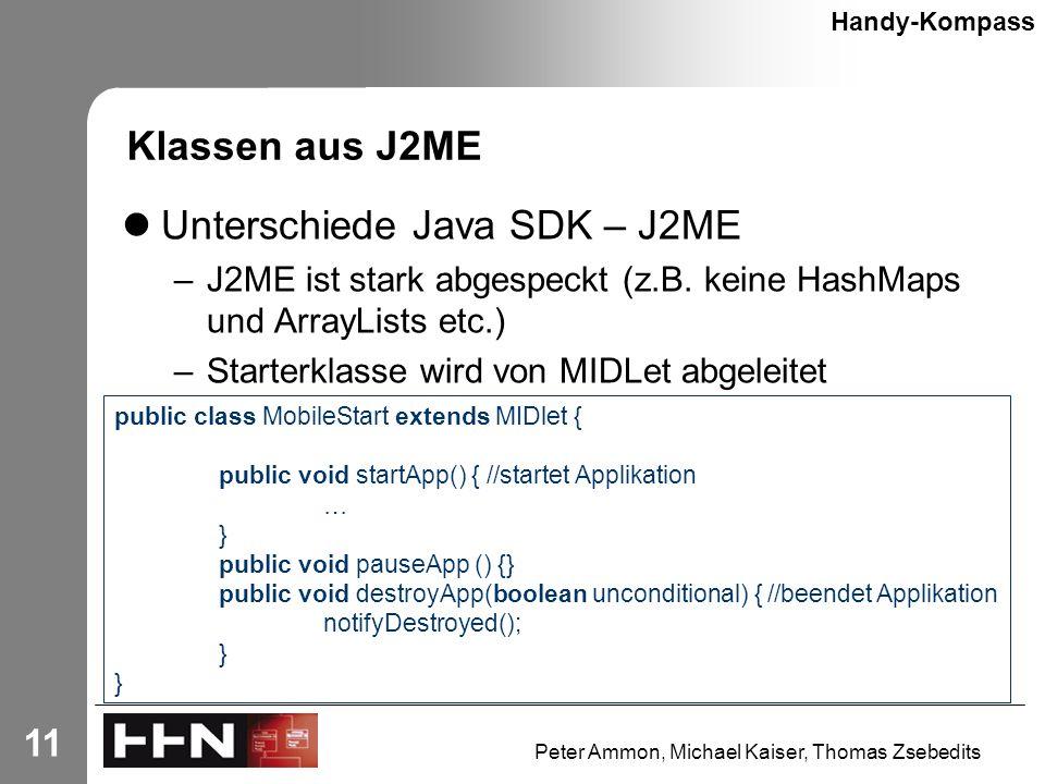 Peter Ammon, Michael Kaiser, Thomas Zsebedits 11 Klassen aus J2ME Unterschiede Java SDK – J2ME –J2ME ist stark abgespeckt (z.B.