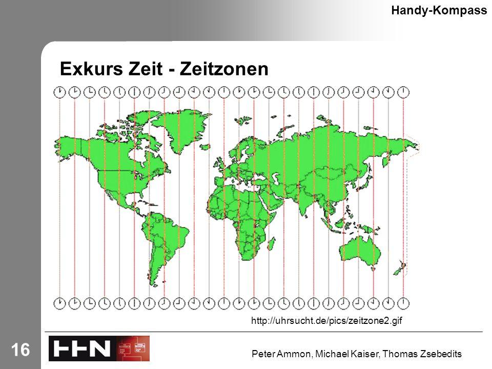 Peter Ammon, Michael Kaiser, Thomas Zsebedits 16 Exkurs Zeit - Zeitzonen Handy-Kompass http://uhrsucht.de/pics/zeitzone2.gif