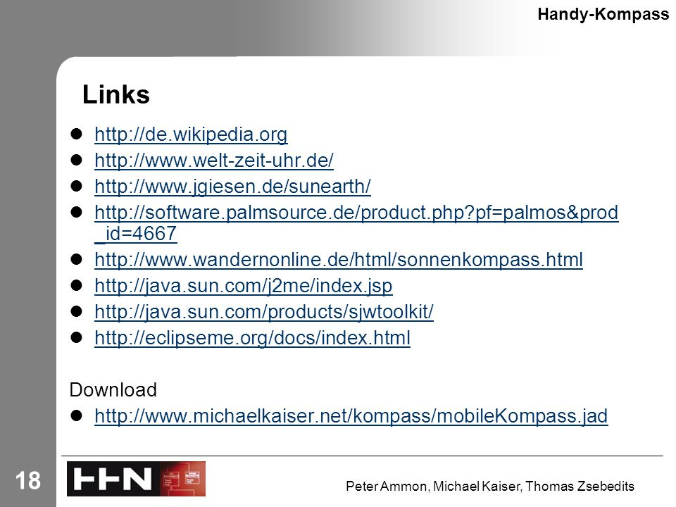 Peter Ammon, Michael Kaiser, Thomas Zsebedits 18 Links Handy-Kompass pf=palmos&prod _id= pf=palmos&prod _id= Download