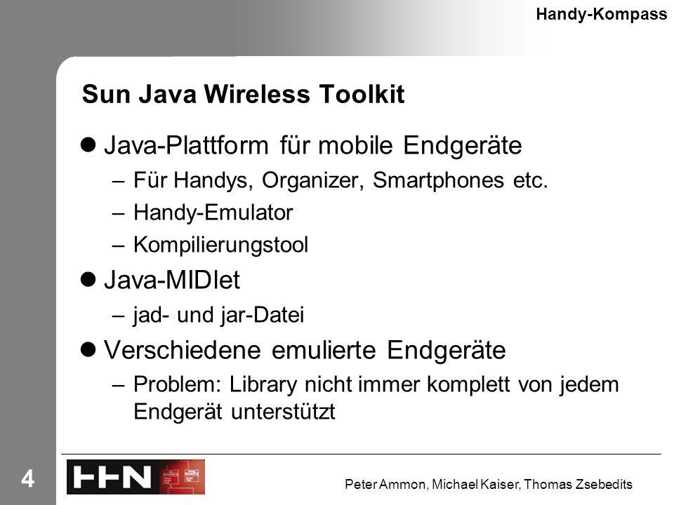 Peter Ammon, Michael Kaiser, Thomas Zsebedits 4 Sun Java Wireless Toolkit Java-Plattform für mobile Endgeräte –Für Handys, Organizer, Smartphones etc.