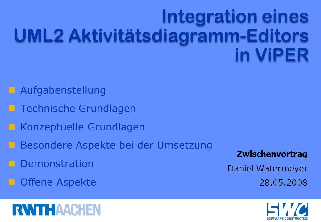 Aufgabenstellung Technische Grundlagen Konzeptuelle Grundlagen Besondere Aspekte bei der Umsetzung Demonstration Offene Aspekte Integration eines UML2 Aktivitätsdiagramm-Editors in ViPER Zwischenvortrag Daniel Watermeyer 28.05.2008