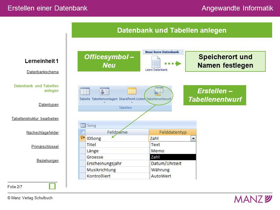 © Manz Verlag Schulbuch Angewandte Informatik Folie 2/7 Erstellen einer Datenbank Datenbank und Tabellen anlegen Officesymbol – Neu Speicherort und Na