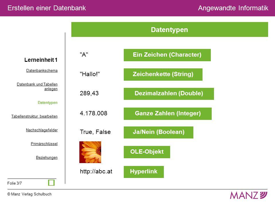 © Manz Verlag Schulbuch Angewandte Informatik Folie 3/7 Erstellen einer Datenbank
