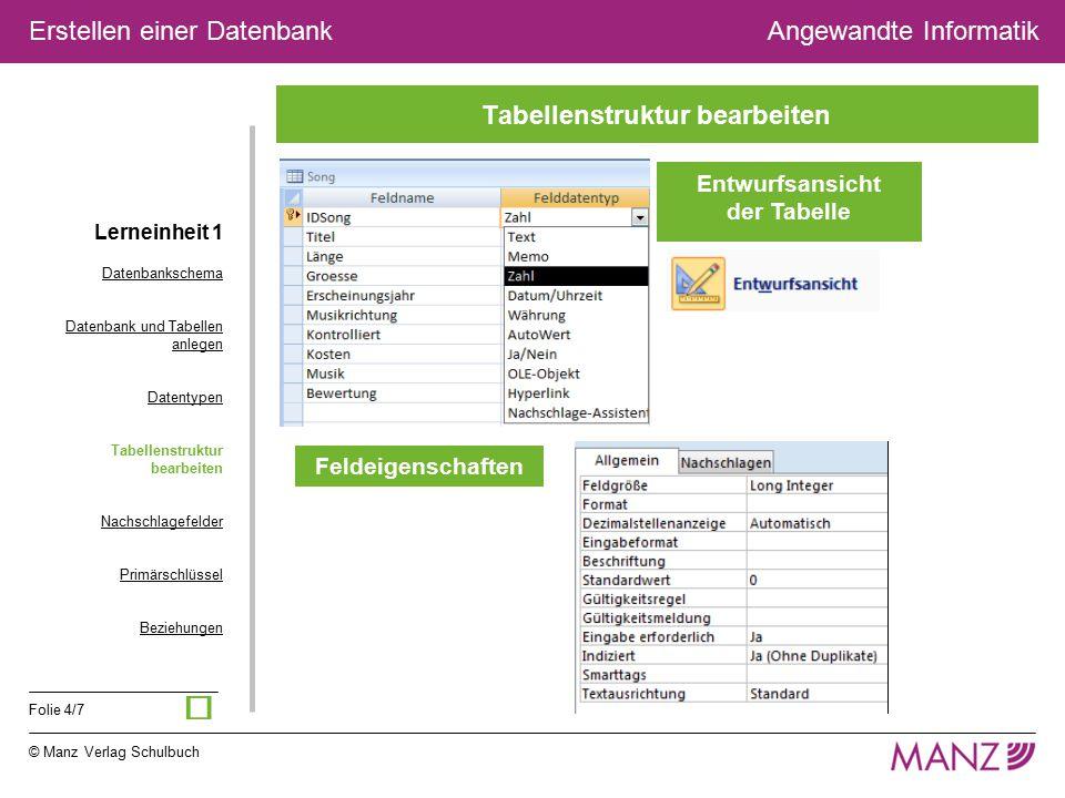 © Manz Verlag Schulbuch Angewandte Informatik Folie 4/7 Erstellen einer Datenbank Entwurfsansicht der Tabelle Feldeigenschaften Tabellenstruktur bearb