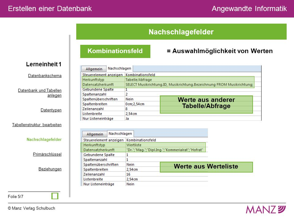 © Manz Verlag Schulbuch Angewandte Informatik Folie 5/7 Erstellen einer Datenbank Kombinationsfeld = Auswahlmöglichkeit von Werten Werte aus anderer T