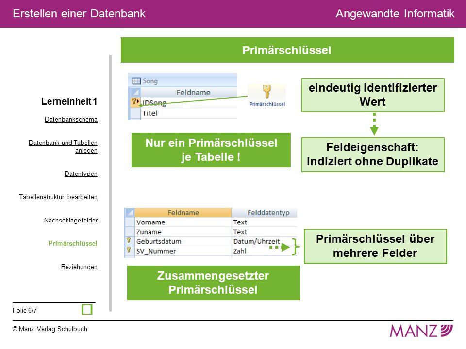 © Manz Verlag Schulbuch Angewandte Informatik Folie 6/7 Erstellen einer Datenbank eindeutig identifizierter Wert Feldeigenschaft: Indiziert ohne Dupli