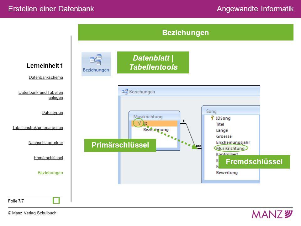 © Manz Verlag Schulbuch Angewandte Informatik Folie 7/7 Erstellen einer Datenbank Beziehungen Primärschlüssel Fremdschlüssel Datenblatt | Tabellentool