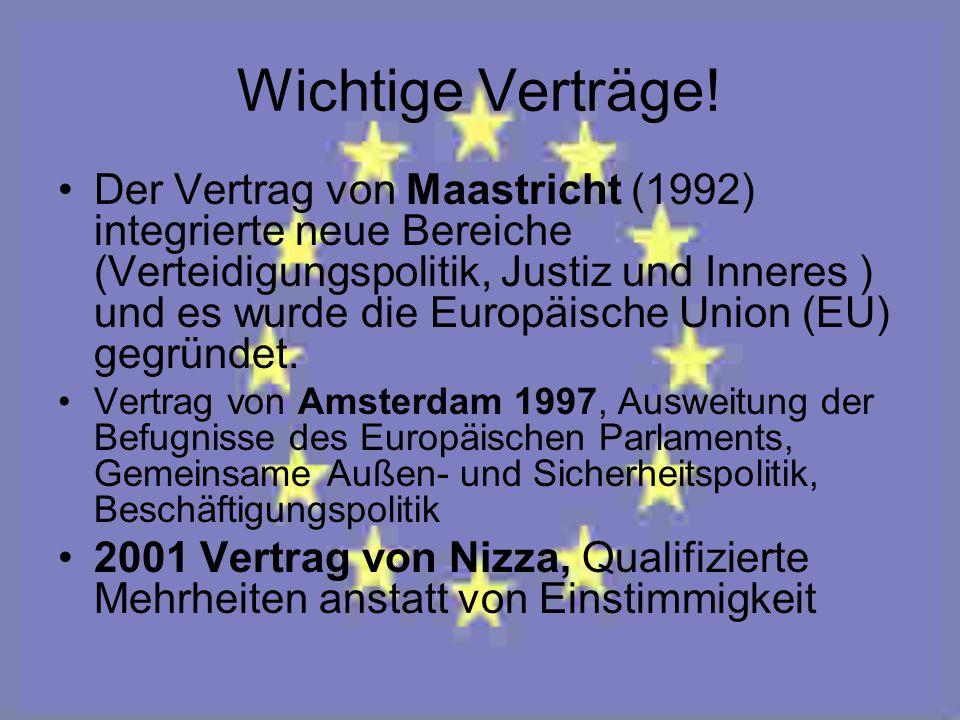 Wichtige Verträge! Der Vertrag von Maastricht (1992) integrierte neue Bereiche (Verteidigungspolitik, Justiz und Inneres ) und es wurde die Europäisch