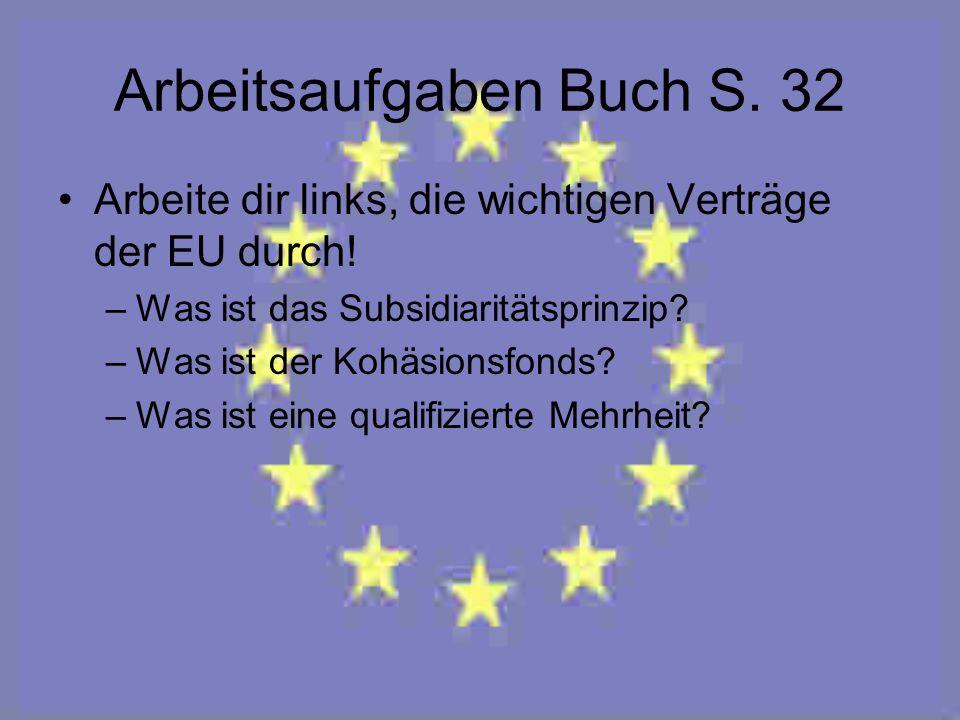 Arbeitsaufgaben Buch S. 32 Arbeite dir links, die wichtigen Verträge der EU durch! –Was ist das Subsidiaritätsprinzip? –Was ist der Kohäsionsfonds? –W