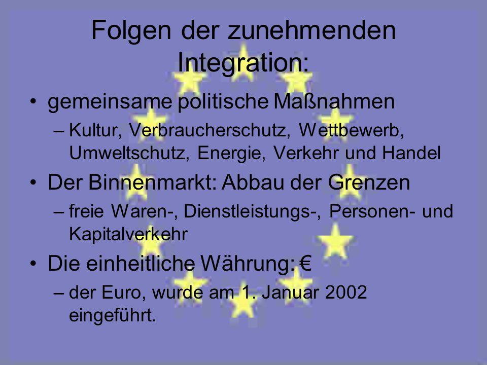 Folgen der zunehmenden Integration: gemeinsame politische Maßnahmen –Kultur, Verbraucherschutz, Wettbewerb, Umweltschutz, Energie, Verkehr und Handel